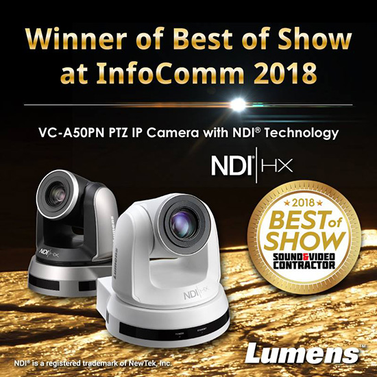 Lumens Awarded Best of Show at InfoComm 2018